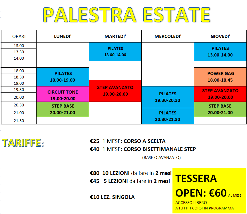 PALESTRA ESTATE 2019